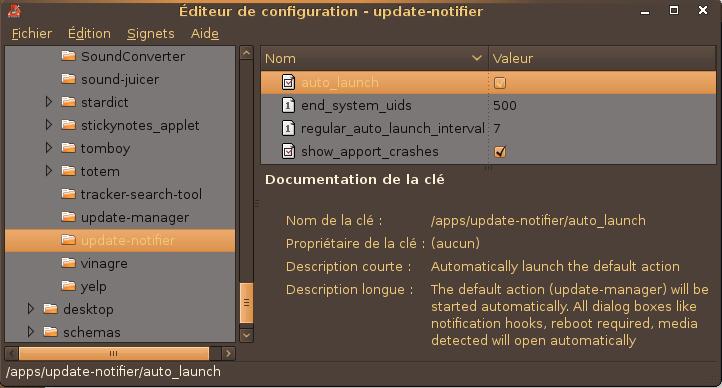 Récupération de l'icône update notifier avec gconf-editor