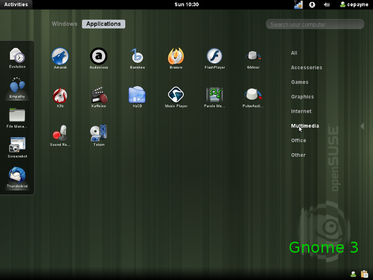 interface Gnome 3 sur OpenSuse