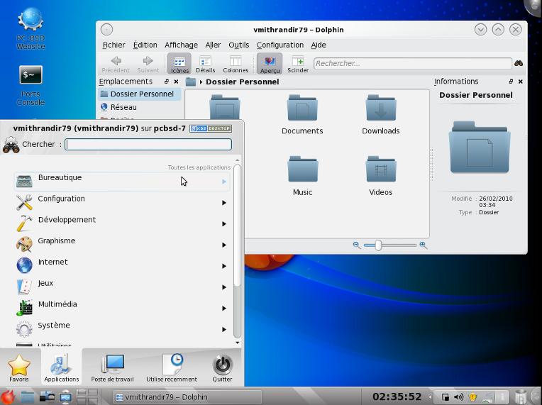 Dolphin et menu KDE